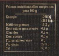 Jambon de Bayonne - 4 grandes tranches - Informations nutritionnelles
