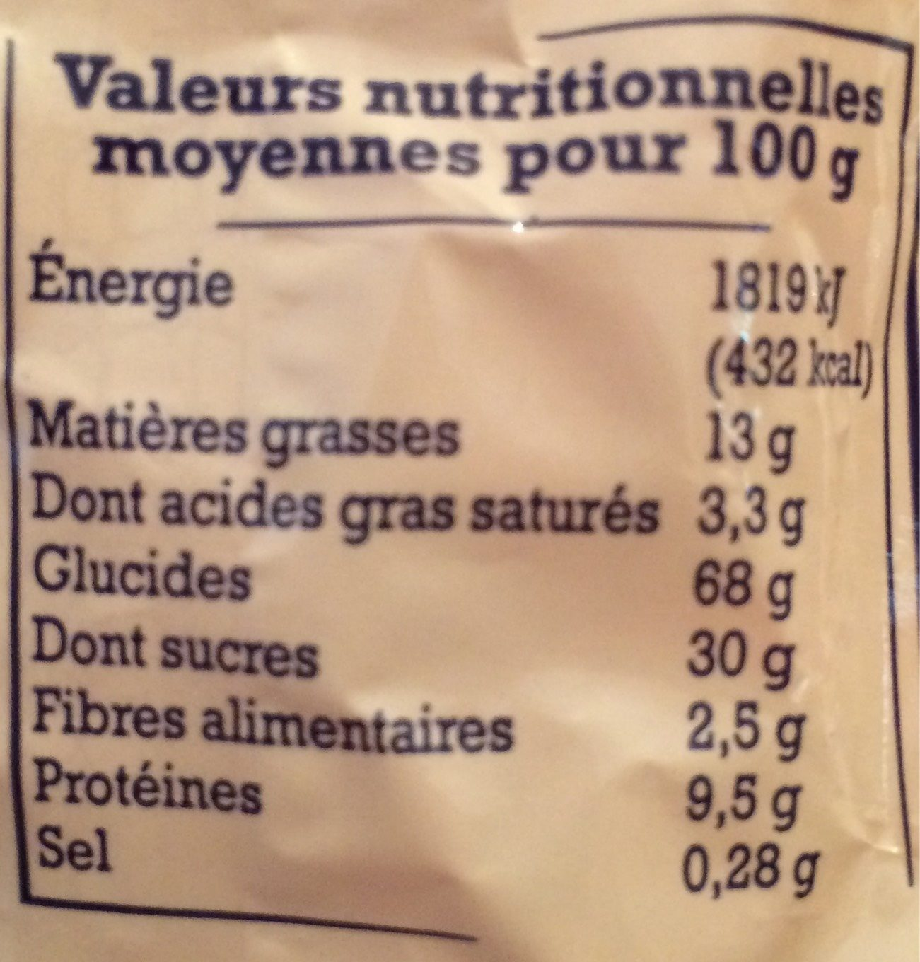 Croquants de Provence aux Amandes - Nutrition facts