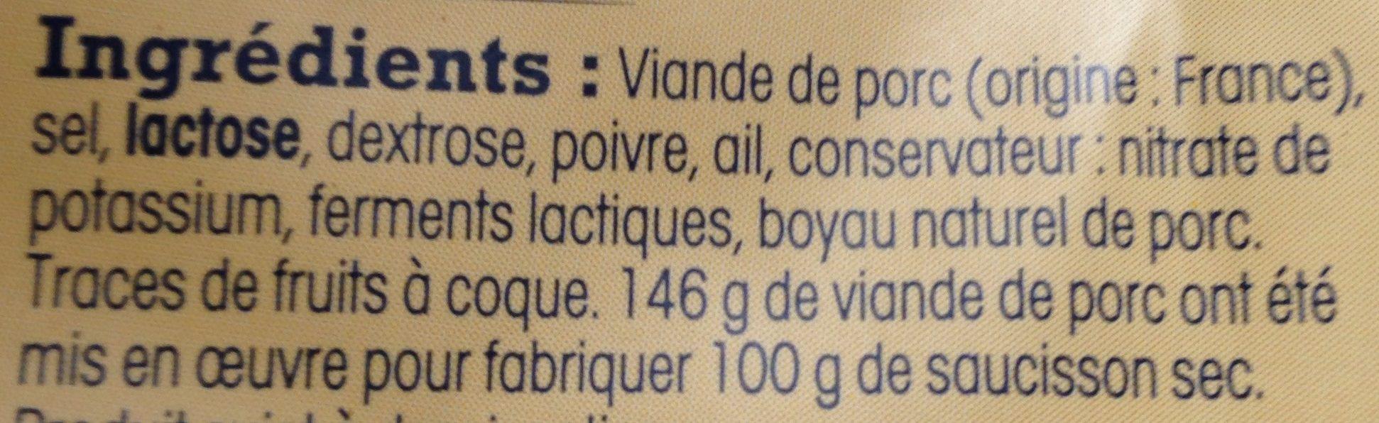 Saucisson de l'Ardèche artisanal - Ingrédients