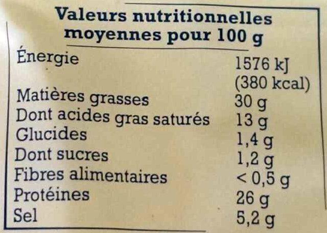 Saucisson de l'Ardèche artisanal - Informations nutritionnelles