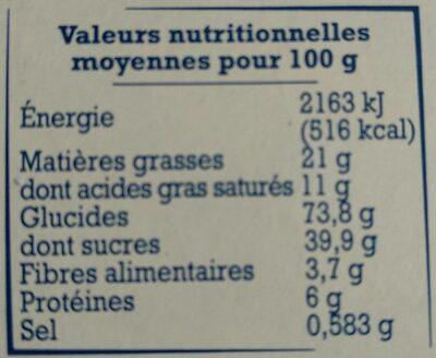 Crêpes dentelle de Bretagne - Nutrition facts - fr