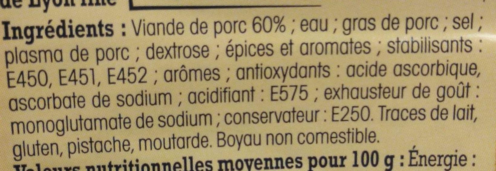Saucisse de Lyon fine Alsacienne - Ingredients - fr
