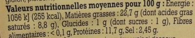 Saucisse de Lyon fine Alsacienne - Nutrition facts - fr