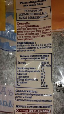 Pâtes d'Alsace Torsades (7 Œufs Frais par kilo de semoule) - Ingredients - fr