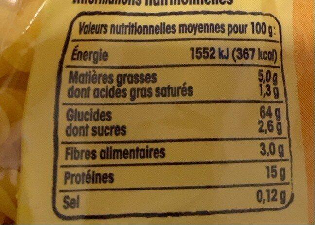 Pâtes d'Alsace Torsades (7 Œufs Frais par kilo de semoule) - Nutrition facts - fr