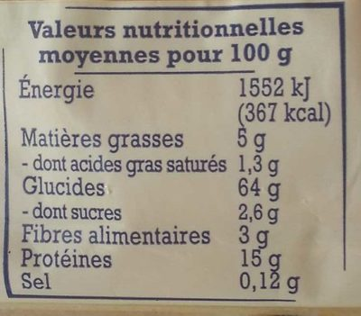 Pâtes d'Alsace - Nutrition facts