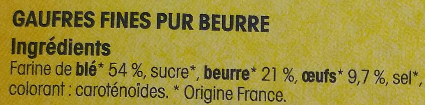 Gaufres fines du Nord pur beurre - Ingredients - fr