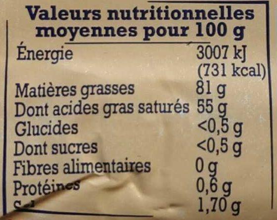 Beurre extra fin de charentes poitou à la fleur de sel - Nutrition facts - fr