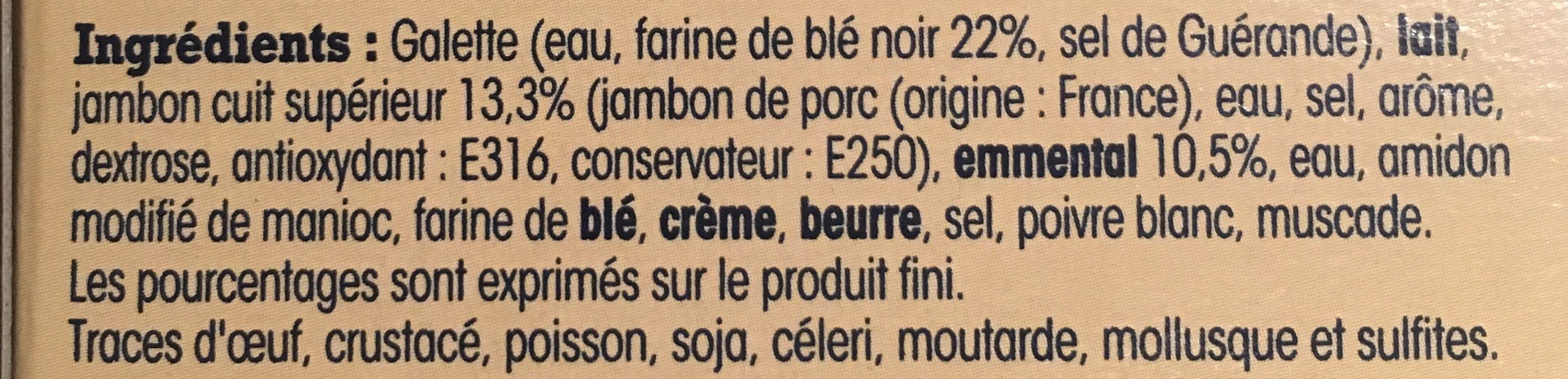 2 Galettes de Sarrasin de Bretagne Recette Campagnarde, Jambon et Emmental - Ingrédients - fr