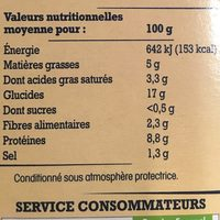 2 Galettes de Sarrasin de Bretagne Recette Campagnarde, Jambon et Emmental - Informations nutritionnelles - fr