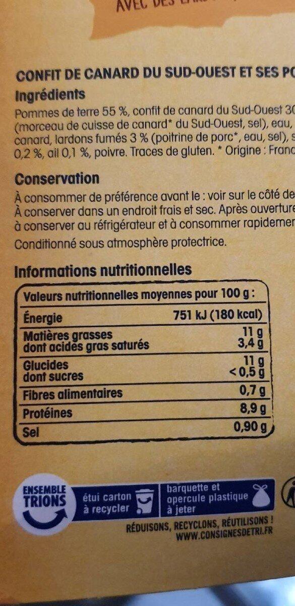 Confit de canard et ses pommes de terre persillées - Nutrition facts - fr