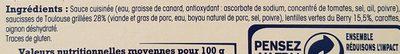 Saucisses de Toulouse aux lentilles vertes du Berry - Ingrédients - fr