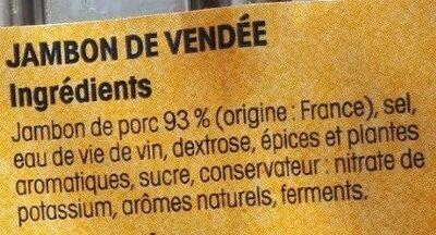 Jambon Vendée x4 Nos Régions ont du Talent - Ingredients - fr