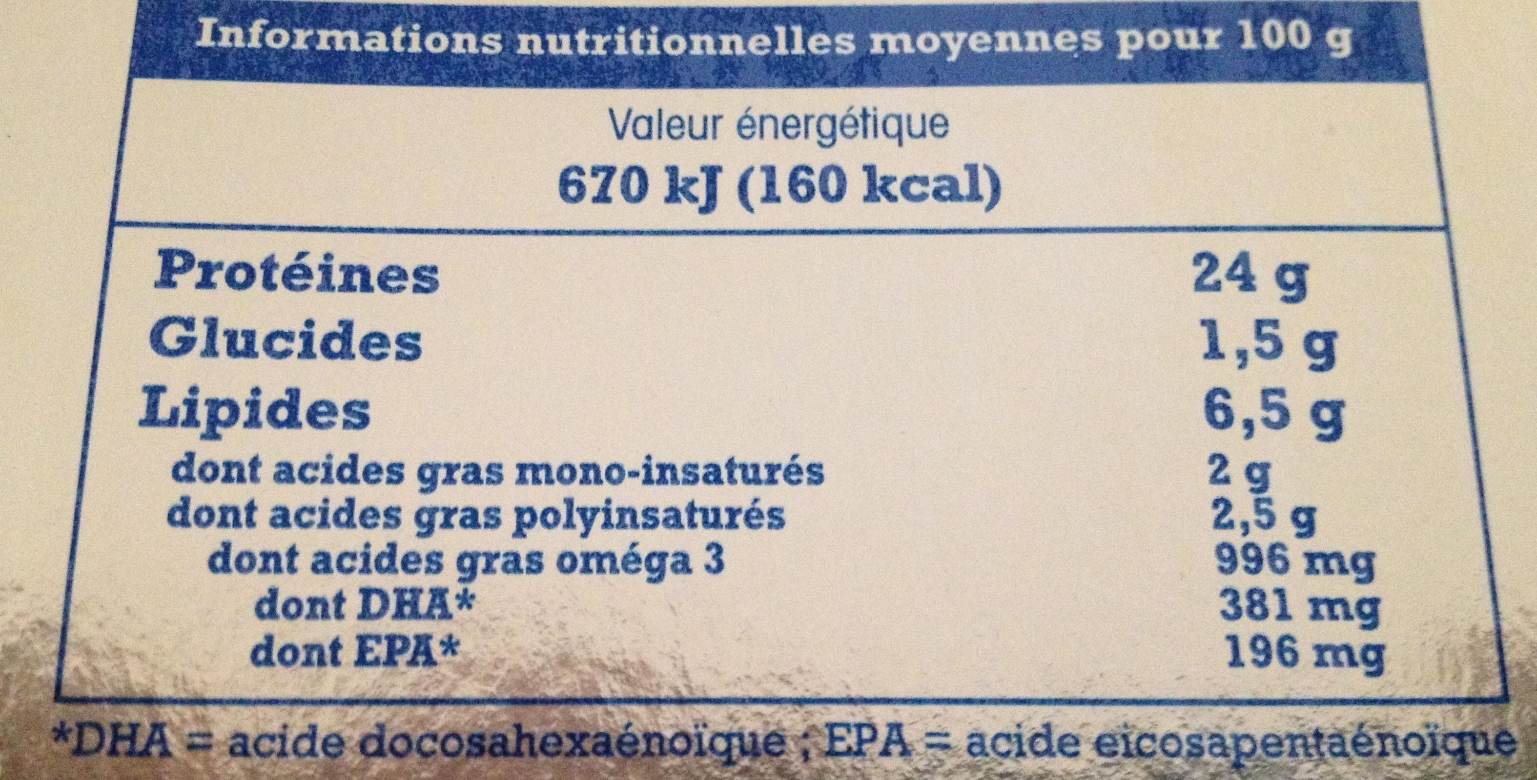 Truite fumée au bois de hêtre label Rouge (4 tranches) 120 g - Informations nutritionnelles - fr