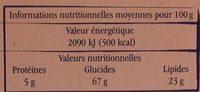 Sablés aux pommes au beurre d'Isigny - Nutrition facts