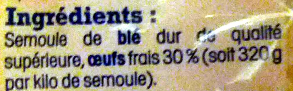 Pâtes d'Alsace Papillons (7 Œufs Frais par kilo de semoule) - Ingrediënten