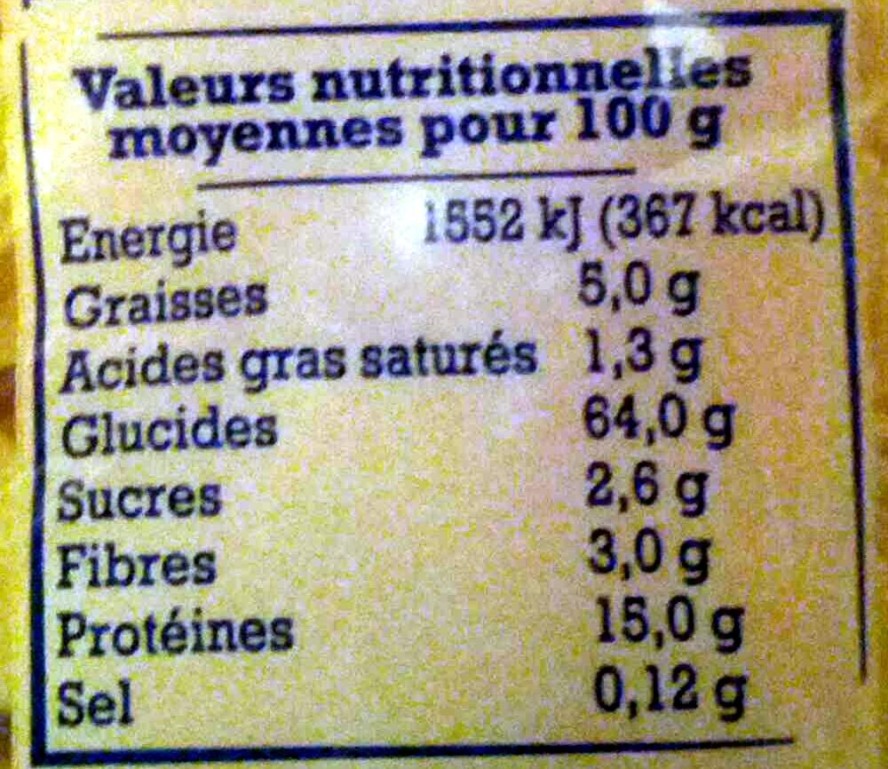 Pâtes d'Alsace Papillons (7 Œufs Frais par kilo de semoule) - Voedingswaarden