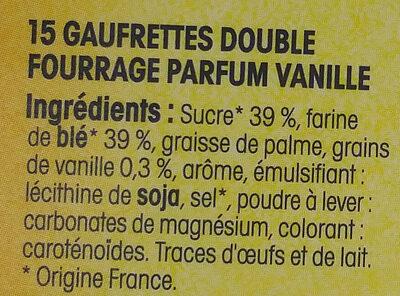 Gaufrette amusante du Nord parfum vanille - Ingredients - fr