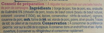 Paté de campagne à l'andouille de Guéméné - Ingrédients - fr