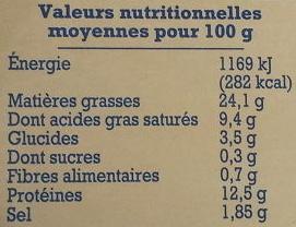 Paté de campagne à l'andouille de Guéméné - Informations nutritionnelles - fr