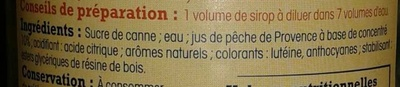 Sirop pêche de Provence pur sucre de canne - Ingredients - fr