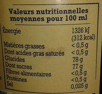 Sirop pêche de Provence pur sucre de canne - Nutrition facts - fr
