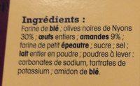 Croquants olives nyons NRDT - Ingrédients