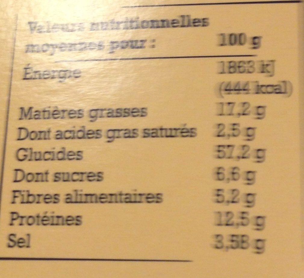 Croquants olives nyons NRDT - Informations nutritionnelles