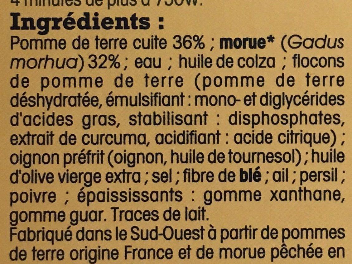 Brandade de Morue Parmentière, Recette du Sud-Ouest - Ingrédients - fr