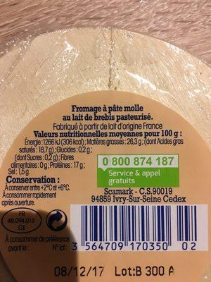 Fromage perail lait de brebis Nos Régions Ont Du Talent - Ingredients