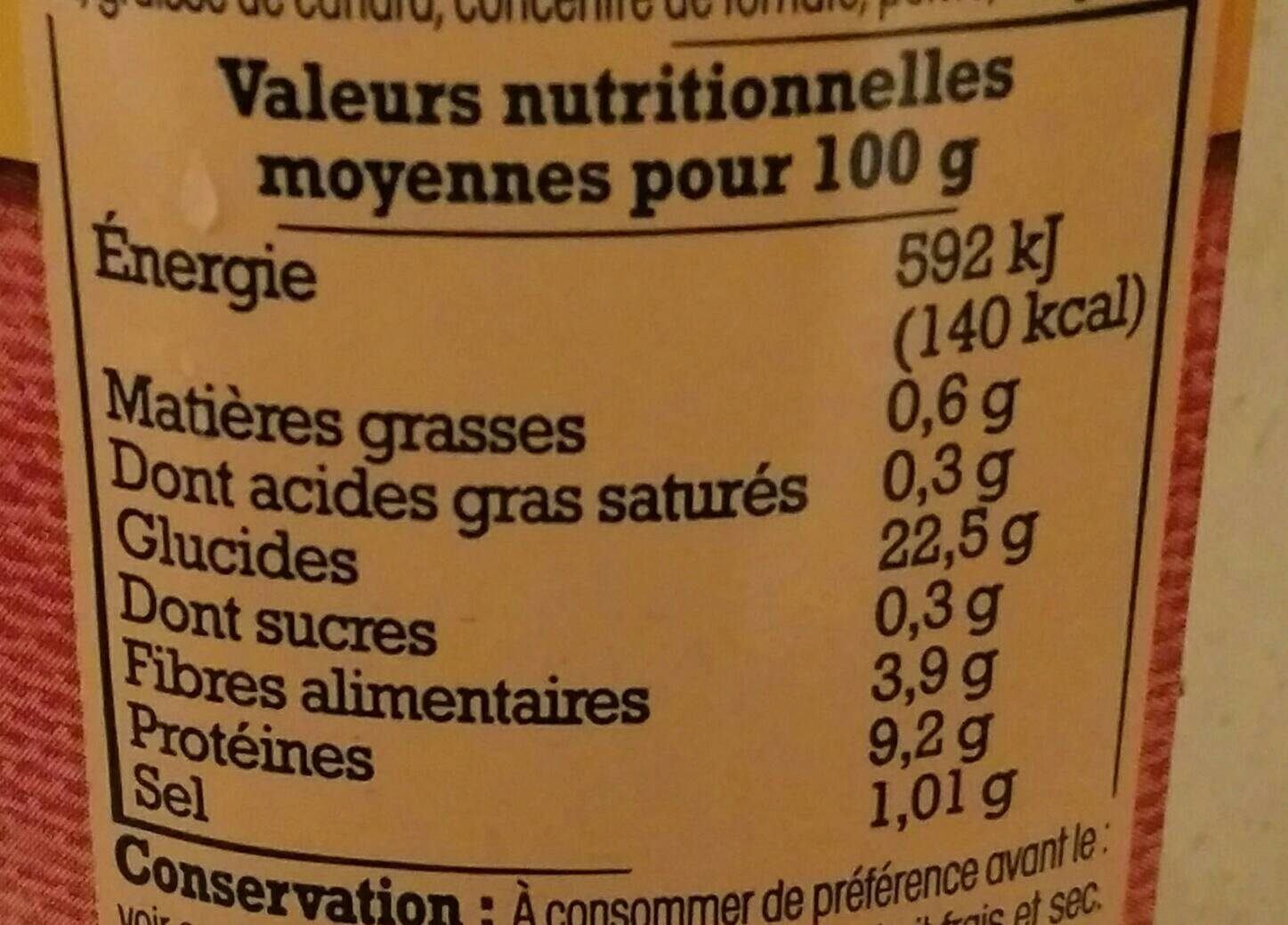 Mogettes de Vendée au Jambon Fumé - Nutrition facts