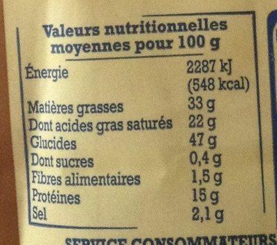 Sablés salés au Cantal AOP - Informations nutritionnelles