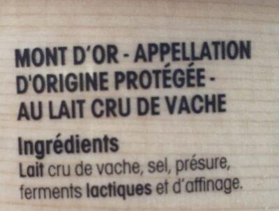 Mont d'Or - Ingrédients - fr