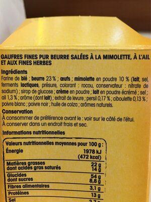 Gaufre mimolette ail Nos Régions Ont du Talent - Ingrédients - fr