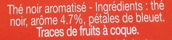 Thé noir 3 : saveur Fraise des bois Rhubarbe - Ingrédients