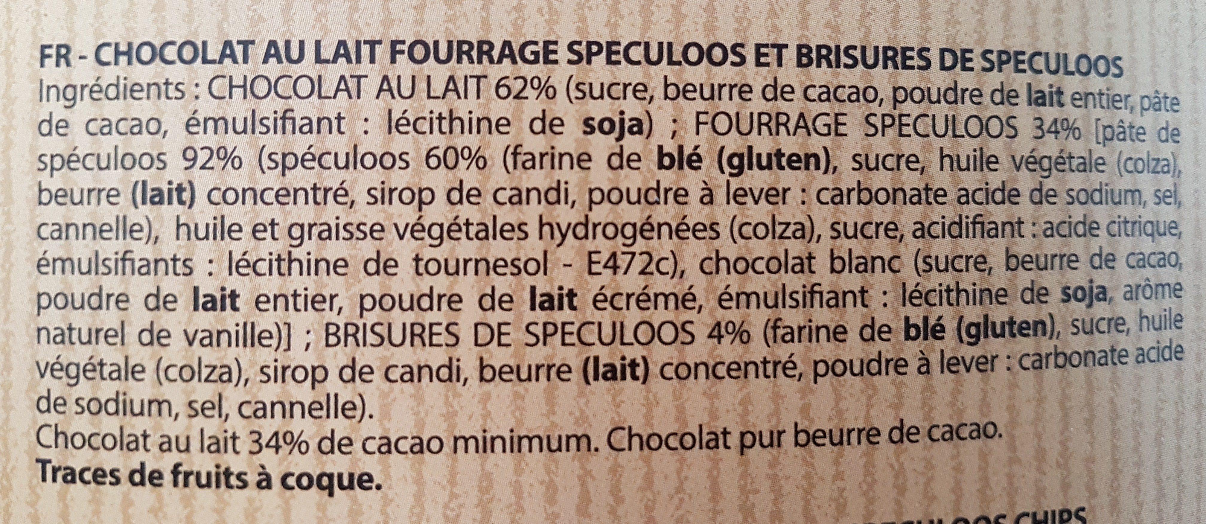 Chocolat au lait fourrage au Speculoos - Ingredients