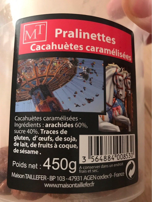 Pralinettes - Cacahuetes Caramelisées - Voedingswaarden - fr