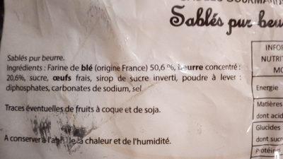 Sablés Gourmands - Ingrédients - fr