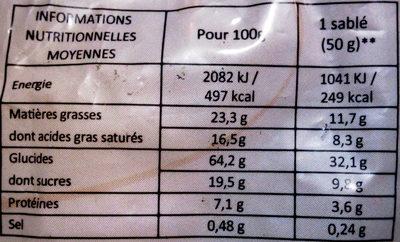 Sablés Gourmands - Informations nutritionnelles - fr