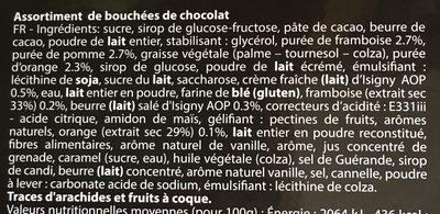 Assortiment de bouchées de chocolat - Ingredients