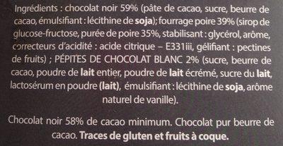 Chocolat noir coeur poire - Ingredients