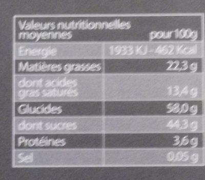 Chocolat noir coeur poire - Nutrition facts