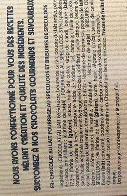 Chocolat Lait coeur speculos - Ingrediënten