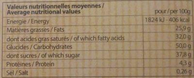 Chocolat Lait coeur speculos - Voedingswaarden