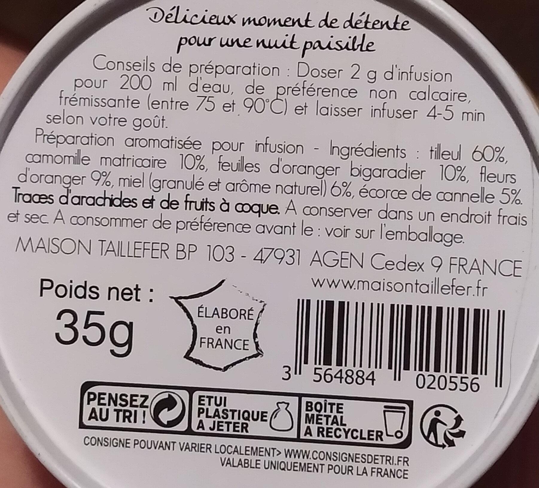 Thé relax Fleur ďoranger-miel - Nutrition facts - fr
