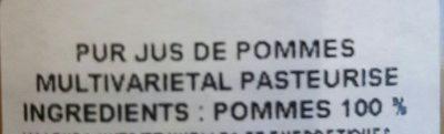 Jus De Pomme Artisanal - Ingrédients - fr