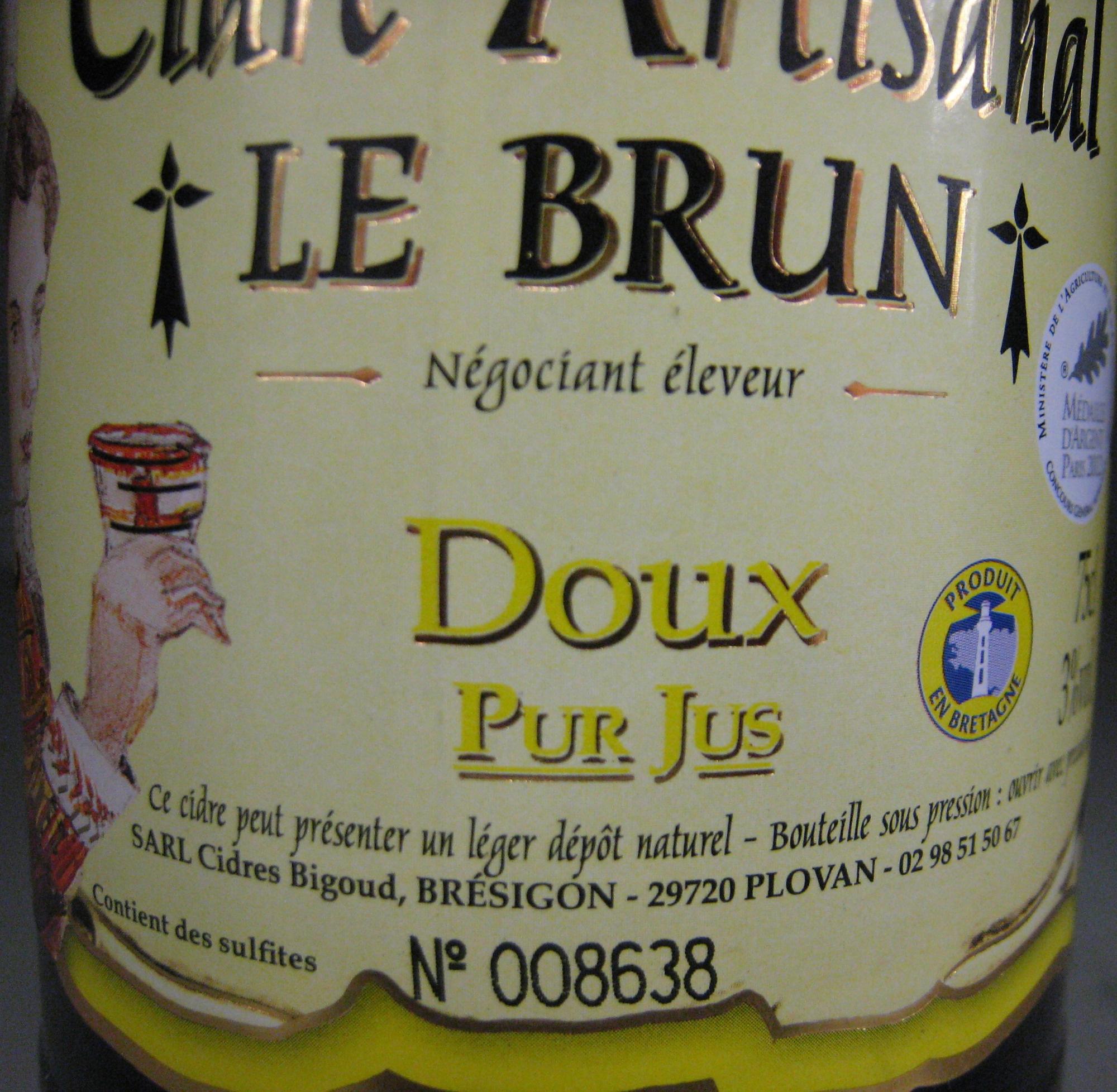 Cidre Artisanal doux Le Brun - Ingredients - fr