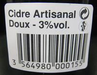 Cidre Artisanal doux Le Brun - Nutrition facts - fr