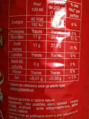 Human Cola Regular Pet - Valori nutrizionali - fr