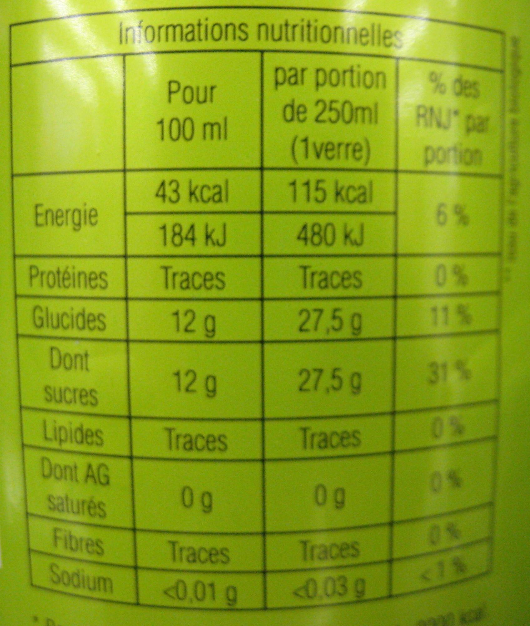 Human Cola Bio - Valori nutrizionali - fr